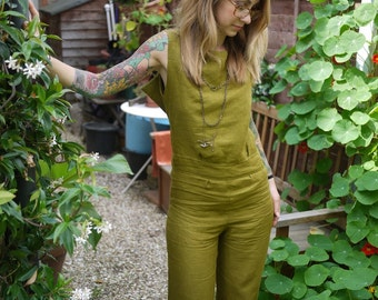 Wide Leg Olive Green Open Back Linen Sexy Jumpsuit Overalls|Plus Size Jumpsuit|Summer Jumpsuit|Sleeveless Jumpsuit|Casual Jumpsuit