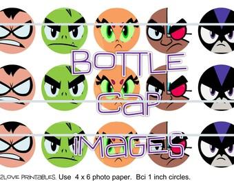 "Teen Titans Go faces printables  4x6 - 1"" circles, bottle cap images, stickers"