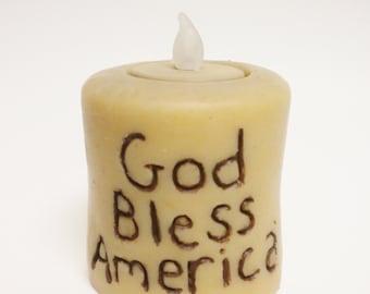 God Bless America Candle, Primitive Americana, Country Farmhouse Decor