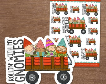 Rollin' With My Gnomies, Gnome Stickers, Planner Stickers, Hand Drawn Doodles, for use with Erin Condren, Happy Planner, Pocket Planner, A5
