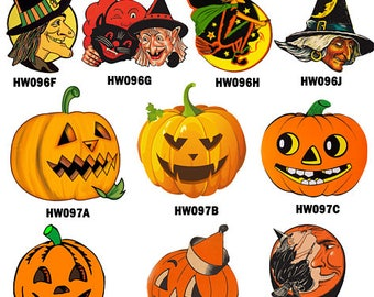 Vintage Halloween Wood Charms collection, Laser Cut Wooden Halloween Pendants