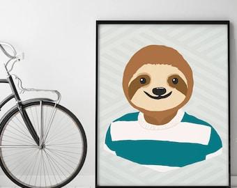 Slothster (B) - Animoji Series - Art Print (Colors are Customizable) Sloth Animal Heads / Kids Room Art Prints