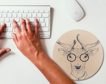 Deer Hipster Animal Mouse Pad Mouse Mat Design Round Mousepad Office Decor Mousemat Office Gift Mouse Pad Birthday Gift Idea Deer Painting