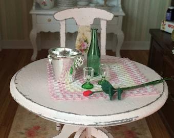 Miniature Champagne Wine Set, Glass Bottle, Ice Bucket, Rose, 2 Glasses, Dollhouse Miniatures, 1:12 Scale, Dollhouse Accessory, Decor