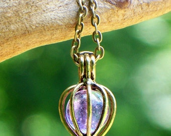 Recycled Antique Amethyst Bottle Drop Necklace