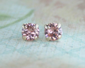 Blush earrings,blush crystal stud earrings,petite earrings,small earrings,6mm swarovski earrings,Swarovski blush rose,dark blush,dusty pink