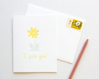 Daisy Flower Love Letterpress Card
