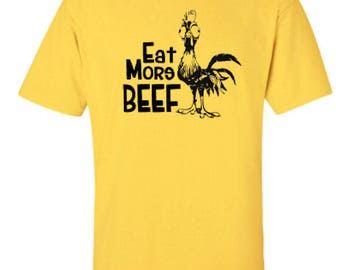 Eat More Beef Rooster Adult Unisex Tshirt