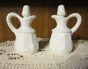Paneled Grape Cluster Milk Glass Cruet Set Vintage 1950's Westmoreland Salad Serving Vinegar Oil Dining Collectible Replacement