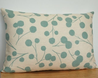 Modern Floral Pillow Cover, Turquoise Floral Throw Pillow, Aqua Pillow Cover, Floral Cushion Cover, 12x18 Inch Floral Pillow