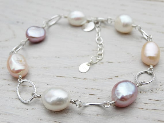 Pearl & Silver Bracelet, Natural Freshwater Pearls, Sterling Silver