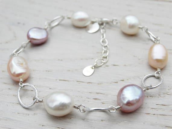 Pearl & Silver Bracelet - Natural Freshwater Pearls - Sterling Silver