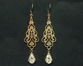 Gold rhinestone chandelier earrings wedding earrings gold gold chandelier bridal earrings rhinestone chandelier earrings in gold filigree and swarovski crystal rhinestones contessa aloadofball Images