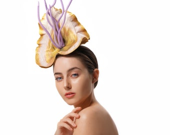 Yellow and Purple Races Hat, Floral Fascinator