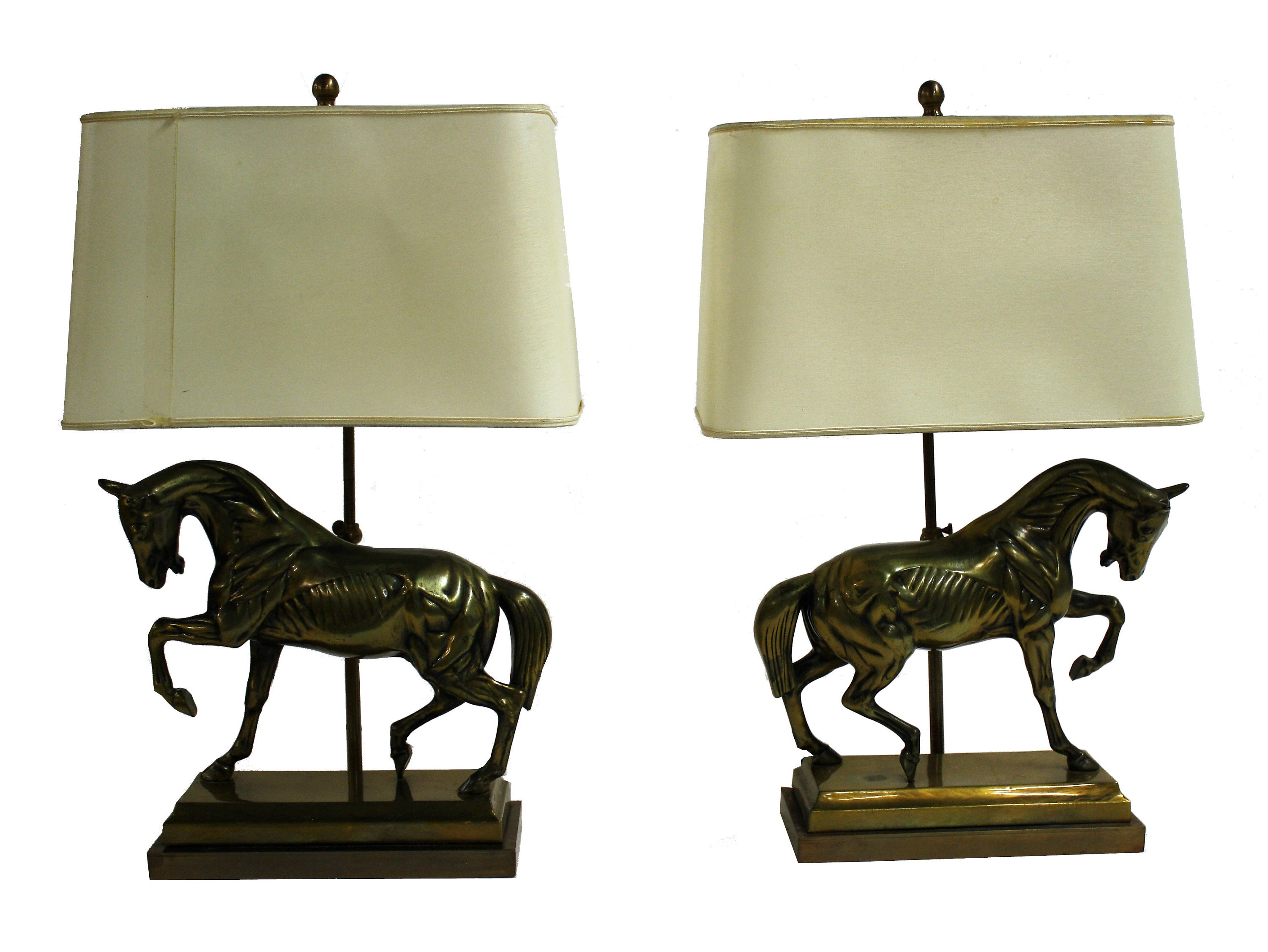 Pair of cast brass horse table lamps in the style of maison zoom aloadofball Gallery