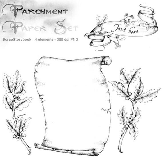 Parchemin de dessin la main set clipart imprimable - Dessin banderole ...