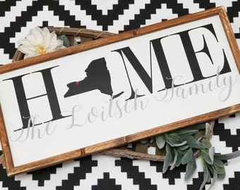 Home with state sign, Home sign with name,  farmhouse style sign, state home sign, Home sweet home state sign, home sign with family name