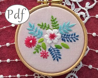 """embroidery pattern pdf  - """"Spring time"""" - hand embroidery pattern - spring craft -  embroidery kit - pdf pattern  - embroidery hoop art -"""