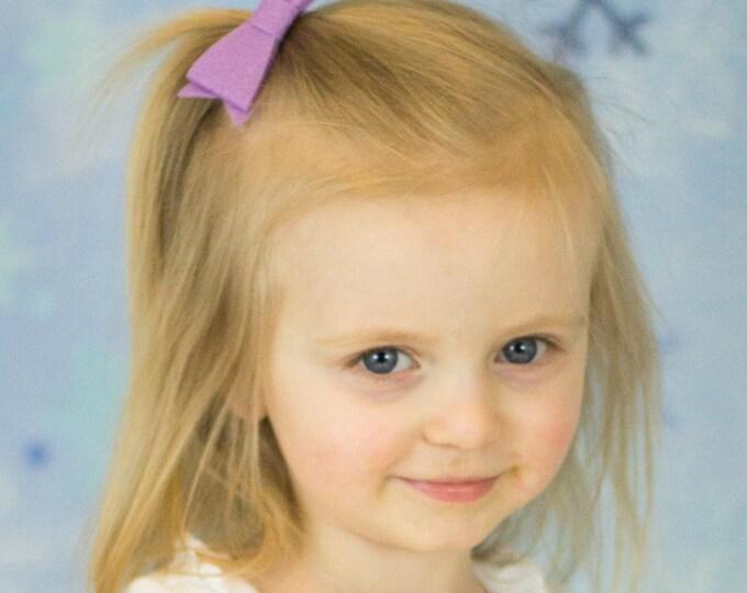 "Orchid Felt Tuxedo Bow  ~3"" Hairbow ~Small Bow ~Girls Barrette ~Toddler Bow ~ Baby Hair Bow ~ Hair Clip ~ Girls Hair Bow"