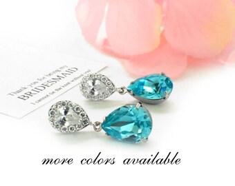 Blue bridesmaid earrings, wedding crystal earrings, Swarovski teardrop, bridesmaid jewelry, bridesmaid earring gift set, something blue