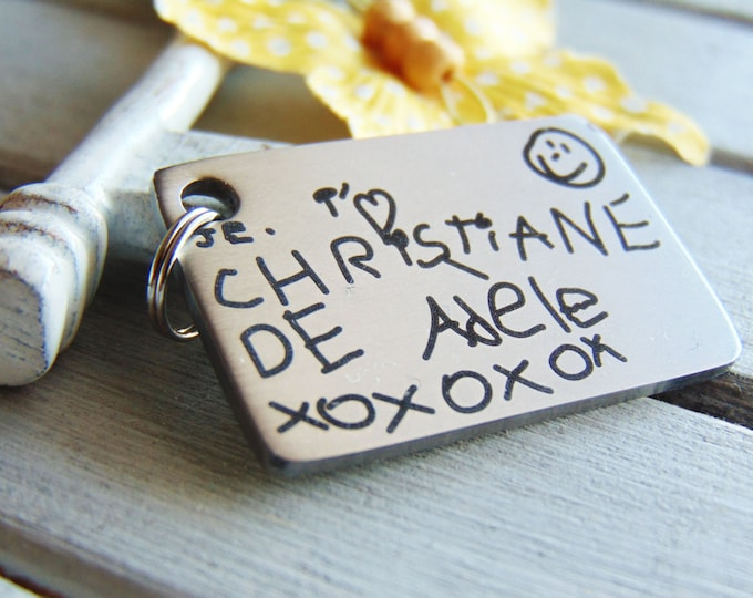Children's Handwritten Key Chain -Your Handwritten Image, or Custom Font Text Option_Laser Engraved_ Stainless Steel Rectangle Keychain<NEW!
