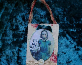 Mixed media fabric collage ornament/tag/shabby/ primitive/Civil War Girl/Staffordshire Spaniel