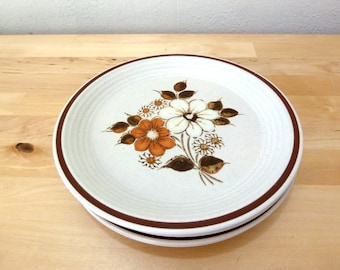 Vintage Floral Plates / Oven to Table / Brown Flower Print / Salad Plates / Ovenware / Fuji Stone Plates / Dinnerware