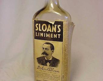 c1940s Sloan's Liniment New York ,St. Louis, Los Angeles , With paper label ,Labeled Medicine Bottle, Drug Store Decor