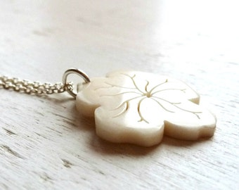 Flower necklace - Bone and sterling silver