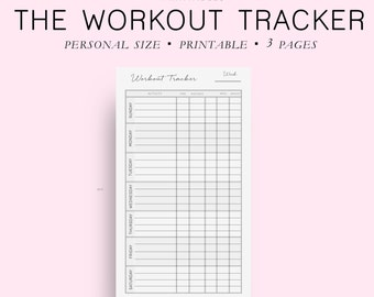 Personal Size Workout Tracker, Fitness Tracker, Health Tracker, Printable Planner Pages, Personal Size Planner, Personal Size Inserts