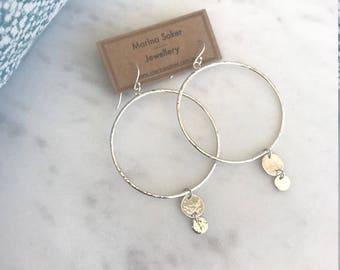 Sterling Silver Hoop Earrings with Drop Disks