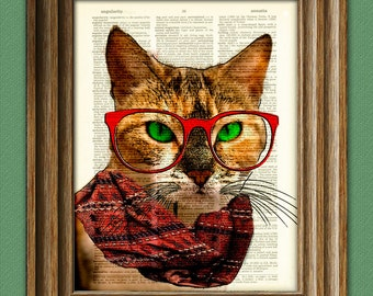 Kale the hipster barista cat disapproves of your coffee choice illustration beautifully upcycled dictionary page book art print