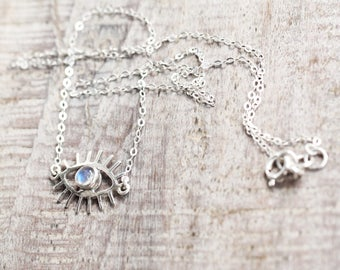 Eye Rainbow Moonstone Necklace, Silver Eye Necklace, Boho Necklace, Sterling Silver Jewelry, Evil Eye Jewelry, Rainbow Moonstone Necklace