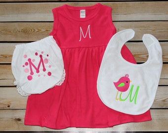 Personalized Diaper Cover, Bib and Dress  Hot Pink Initial Dots