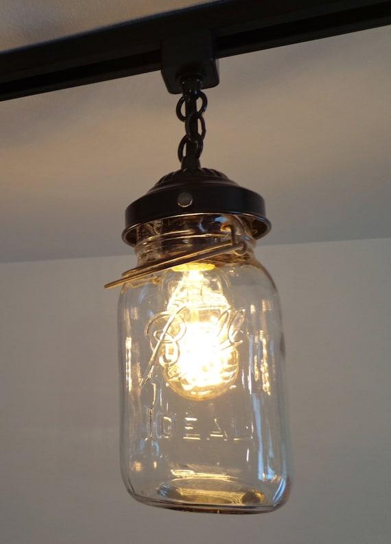 Mason jar track lighting with vintage quarts aloadofball Images