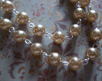 Beaded Chain - Pearl Bead Chain - Rosary Chain - 6mm Gold Pearls - Silver Bead Chain - Glass Pearls - Jewelry Supplies
