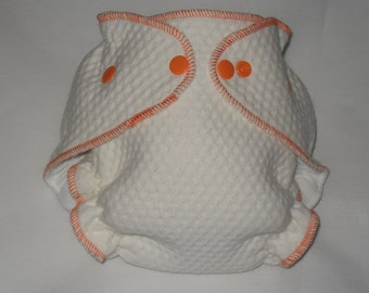 Orange Zorb 2 Fitted diaper with snaps