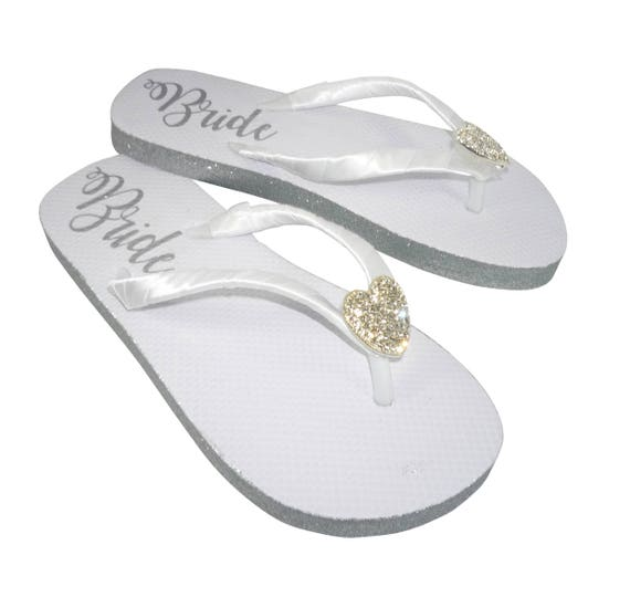 Heart sandals Sole Flip sides Flops bling amp; Glitter Silver with painted Bride pxrpwqRZ