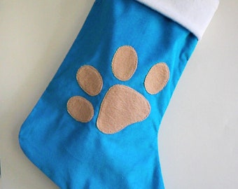 Customized Paw Print Pet Christmas Stocking with Personalized Option - Made to Order - Dog Stocking or Cat Stocking