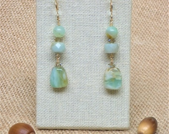 Natural Blue Peruvian Opal Nuggets, Faceted Peruvian Opal Rondelles and Peruvian Opal Round Beads Dangle Earrings
