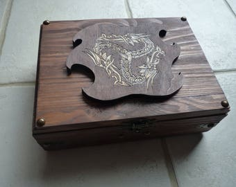 Available: Box triskell dragons tinted Brown oak