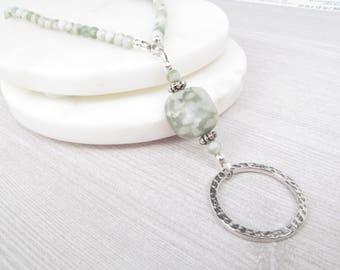 Gemstone Lanyard in Peace Stone, ID Lanyard Necklace, ID Badge Holder, Eyeglass Chain, Reading Glasses Holder Necklace for Glasses