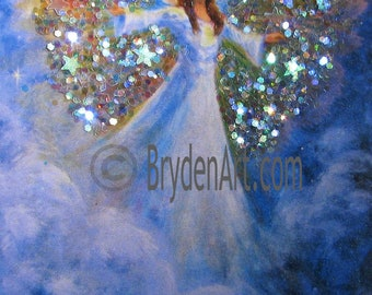 ACEO Angel PRINT Hand Embellished with Glitter