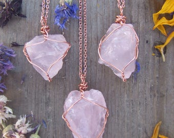 raw rough natural rose quartz crystal wire wrapped in pure copper pendant necklace with adjustable leather chord or copper chain raw rough