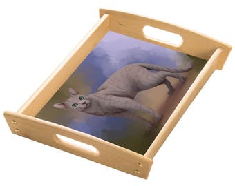 Russian Blue Cat Wood Serving Tray with Handles Natural