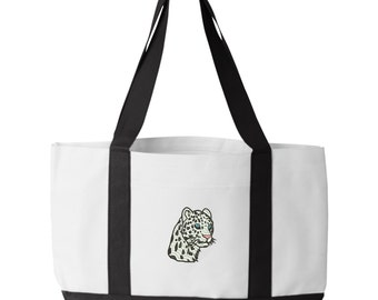 Leopard Tote Bag. Embroidered Leopard Tote. White Leopard Tote Bag. Big Cat Tote Bag. Gift for Cat Lover.  7002