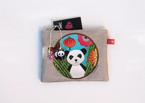 Wallet in natural linen illustrated little panda