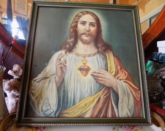 Fantastic old Jesus Sacred Heart print in a beautiful wooden frame