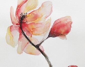 Original Watercolour Painting,Pink Flower,Wall Art