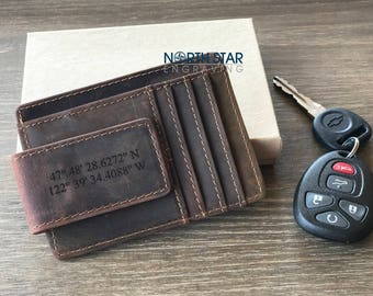 Mens Leather Wallet, Personalized Wallet, Money Clip wallet, Custom Money Clip, Coordinates Money Clip, Mens Personalized Leather Money Clip